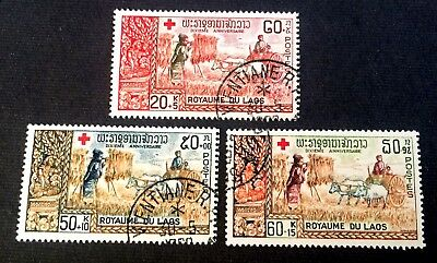 Kingdom of Laos 1967 - 3 old used stamps Red Cross / 02