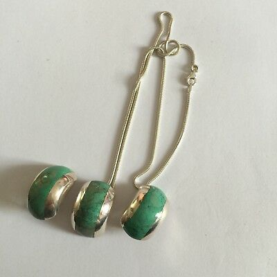 Set Of Hallmarked 925 Solid Silver Necklace Earrings With Turquoise Stones 23g
