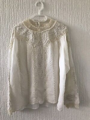 Gorgeous antique lace embroidery blouse top handmade amazing craft vintage shirt