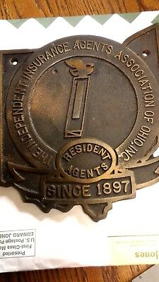cast bronze ohio state insurance plaque 1897 Independant agents antique/vintage