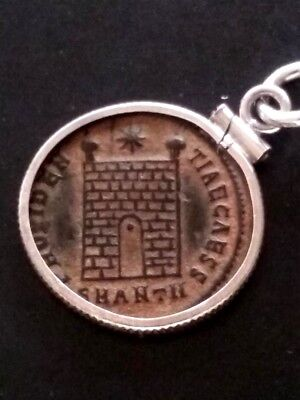 Constantine II Red Sandy Patina CampGate AE3 Ancient Roman Coin Sterling Pendant