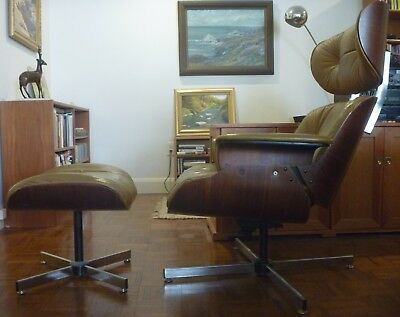 Vintage Plycraft Eames-style Lounge Chair & Ottoman, light brown