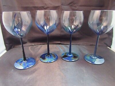1979 Randy Strong Creative Glass Art Glass Wine Goblets - Set Of Four