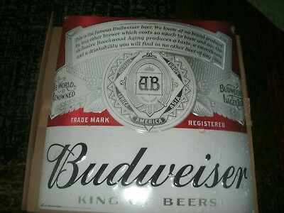 *new* Budweiser - Metal Beer Sign - Bud-Red And Silver- Never Hung Up