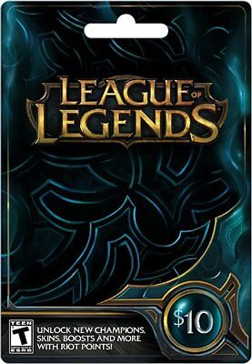 League Of Legends Gift Cards RP Digital Riot Points 10 Dollar Value Physical New