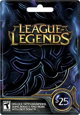 League Of Legends Gift Card RP Digital Riot Points 25 Dollar Value Physical New