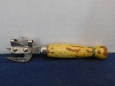 Vintage A&J Tool Tempered Steel Can Bottle Opener Wood Handle YELLOW GREEN
