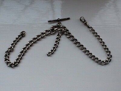 Solid Silver Double Albert Watch Chain