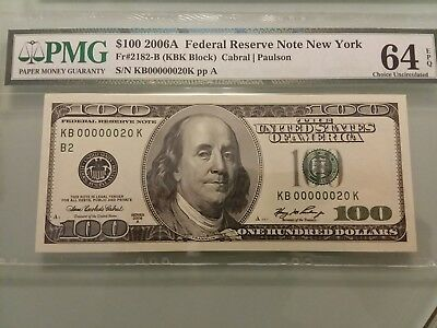 Fancy Low Serial Number $100 Trophy Note 64 EPQ Hundred Dollar Bill.