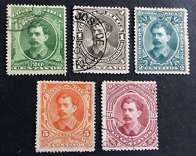 5 old used stamps Costa Rica 1889