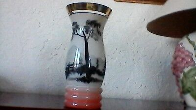 Large Chinese Glass Vase Hand Painted Mountain Scene.very Unusual. Excellent.