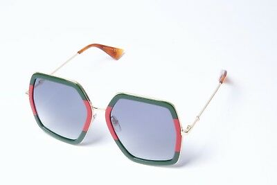 dbb738bf488 Gucci GG0106S 007 Gold  Green-Red Grey Butterfly Sunglasses 56mm Non  Polarized.