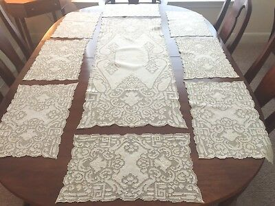Antique Placemats (8) and Tablerunner, Cream Linen, Embroidered Mosiac Punchwork