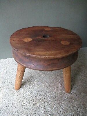 "Antique Stool Stand Vtg Primitive 3 Mortised Splayed Legs Oak Wood, 12-1/2"" Tall"