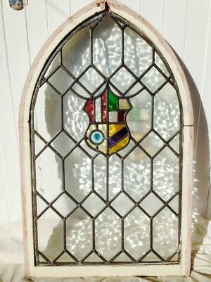 Vintage Leaded Stained Glass Arched Window with Frame