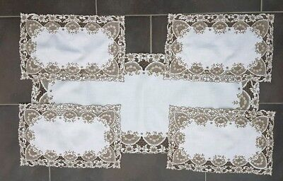 Vintage Set White Linen Madeira Work Embroidered Table Runner & Place Setting