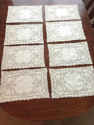 Antique Placemats (8) Cream Linen, Embroidered, Mosiac/Punchwork