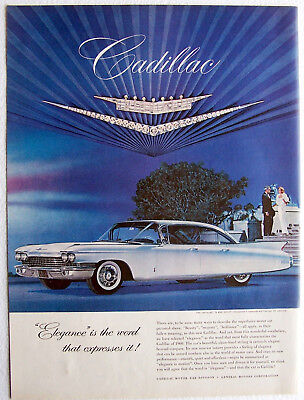 Cadillac Auto Ad Elegance is the word that expresses it 1960