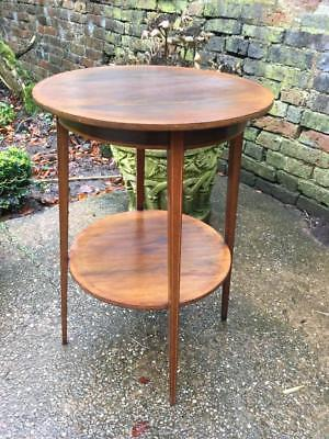 Antique mahogany inlaid Victorian Two Tier Hall Lamp table