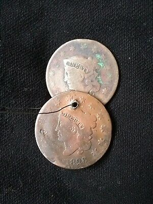 Bens vintage goods. A pair of old 1822-26 LARGE CENT coins, old handmade jewelry