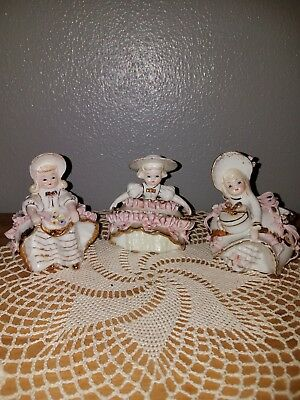 VINTAGE GEORGE LEFTON BLOOMER GIRL FIGURINES Lot of 3
