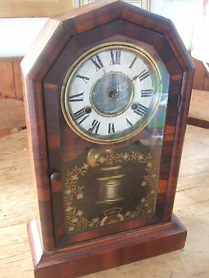 Antique American (1879) Jerome & Co 8 Day Striking Mantle Clock In Mahagany Case