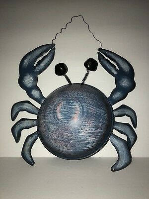 Cute Metal Blue Crab Seaside Wall Hanging Ocean Beach House