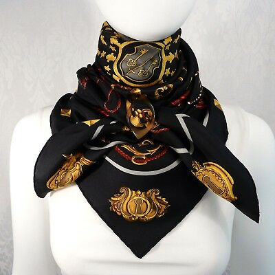 """Hermes Vintage Scarf By Cathy Latham """"Les Cles"""" Black"""