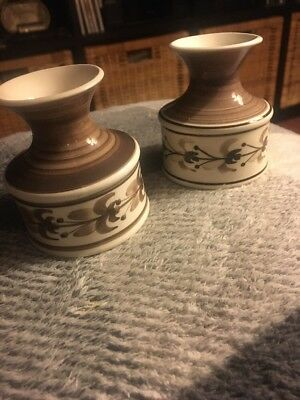 Vintage Jersey c.l. Hand Painted Pottery Small Vases