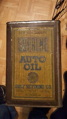 1920s Vintage GULF REFINING CO. SUPREME AUTO OIL Old Model T Car 5 Gallon Can