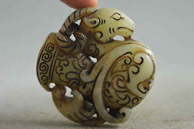 Collectable Chinese Art Jade Carve Ancient Sheep Totem Souvenir Royal Statue