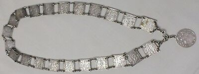 1920s Egyptian Revival Art Deco Silver Metal Chain Double Side Panel Belt 30-32""