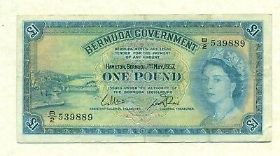Lot 191. Bermuda Qe2 Currency, 1 Pound  1957 Series Very Fine, No Security Strip