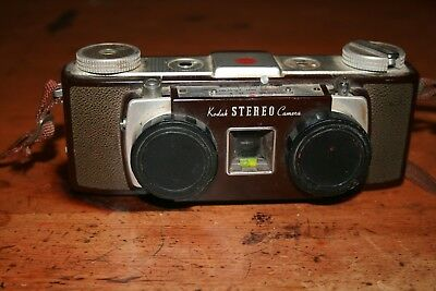 KODAK vintage STEREO CAMERA with strap and lens caps film inside Untested