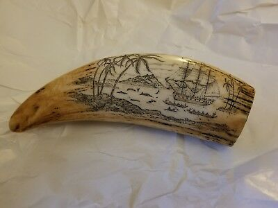 Scrimshaw Replica Faux Whale Tooth Ship Island Scene Great Dark Detail