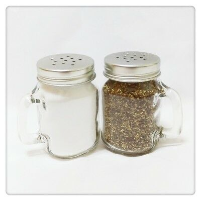 Set of 2 Clear Glass Jar Shape Salt & Pepper Shakers With Handles & Metal Lids