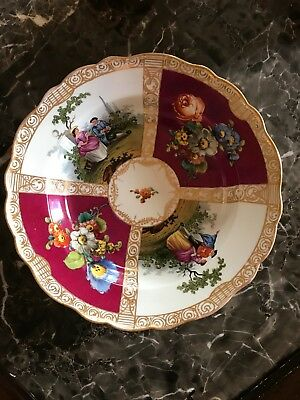 MEISSEN ANTIQUE BOWL VICTORIAN COURTING COUPLES CROSSED SWORDS bb