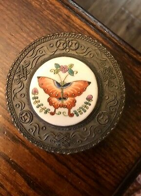"Antique Chinese Moth Hand Painted Porcelain Large 4"" Shard Trinket Box"