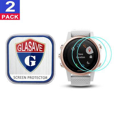(2 Pack) GLASAVE Tempered Glass Screen Protector Film Save For Garmin fenix 5S