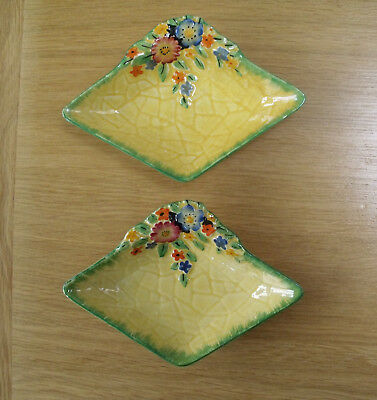Pair vintage Crown Devon, Garden Path, hand painted pin trays