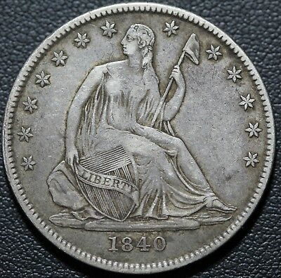 1840 O Seated Liberty Silver Half Dollar - STRONG DETAILS! - Awesome Die Cracks!