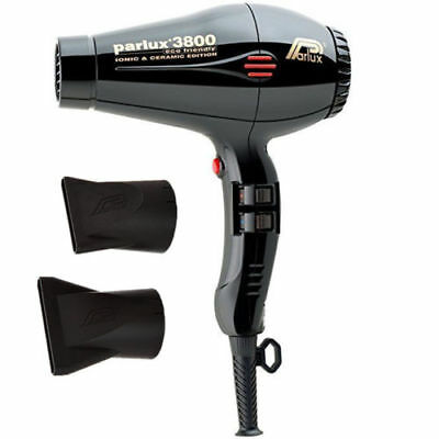 Parlux 3800 Professional Hair dryer BLACK Ceramic Ionic Super Compact Hairdryer