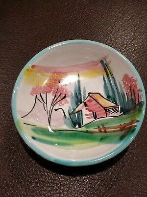 Vintage Italian Italy Majolica Hand Painted Butter Pat Pin Dish Cabin Signed