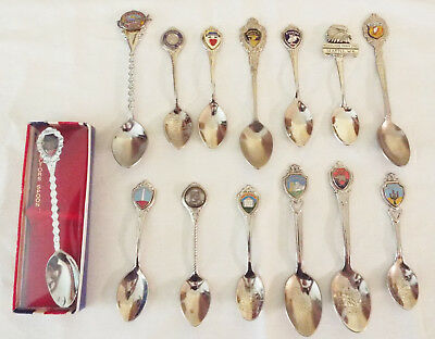Lot of 14 - State, City, Places, Events Collector Souvenir Spoons, 1 new in box