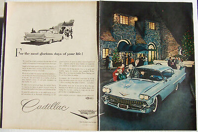 Cadillac Auto Ad or the Most Glorious Days of your Life 2 Page Ad 1958