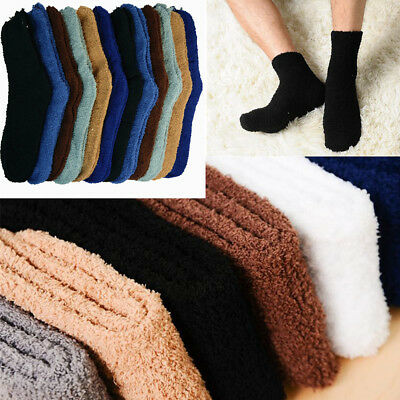 3 Pairs Soft Cozy Fuzzy Socks For Mens Winter Warm Plain Solid Home Slipper