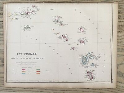 1859 Leeward Islands Caribbean Hand Coloured Antique Map By W.g. Blackie