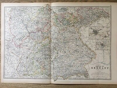 SOUTHERN GERMANY ANTIQUE Map Fullarton Bartholomew 1874 Munich ...