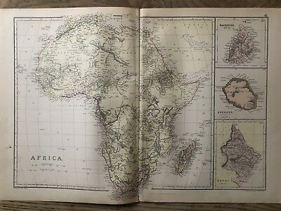 1884 Africa Large Coloured Antique Map By W.g. Blackie