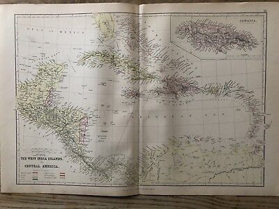 1884 West Indies & Central America Large Coloured Antique Map By W.g. Blackie